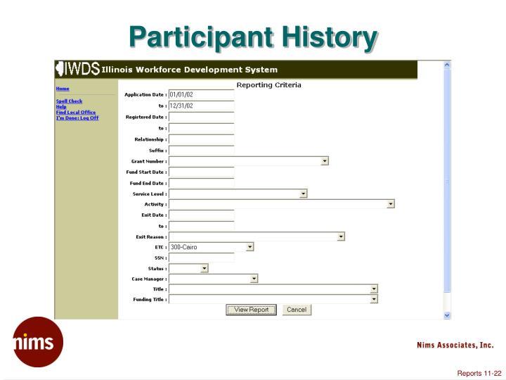 Participant History