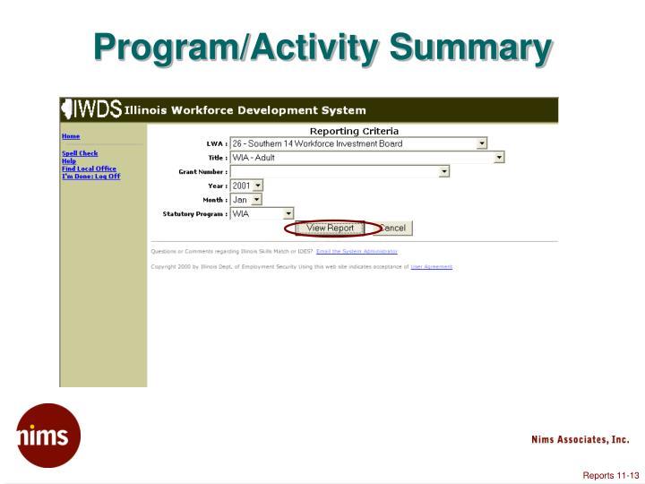 Program/Activity Summary