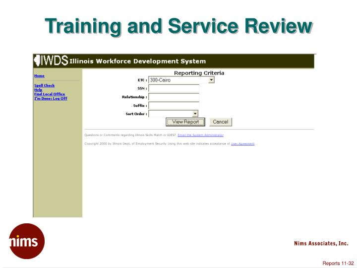 Training and Service Review