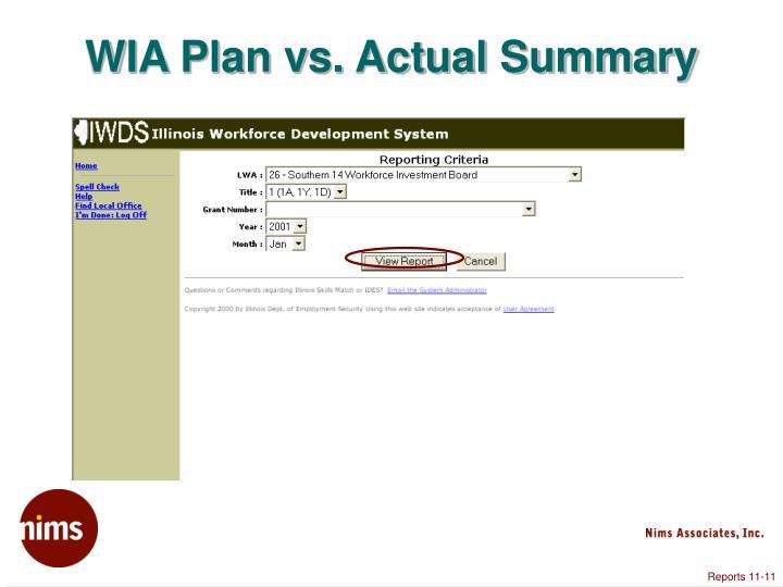 WIA Plan vs. Actual Summary