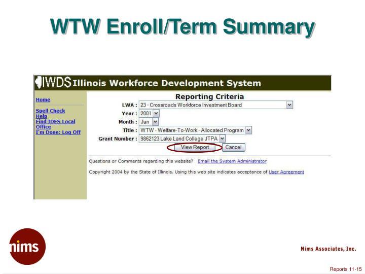 WTW Enroll/Term Summary