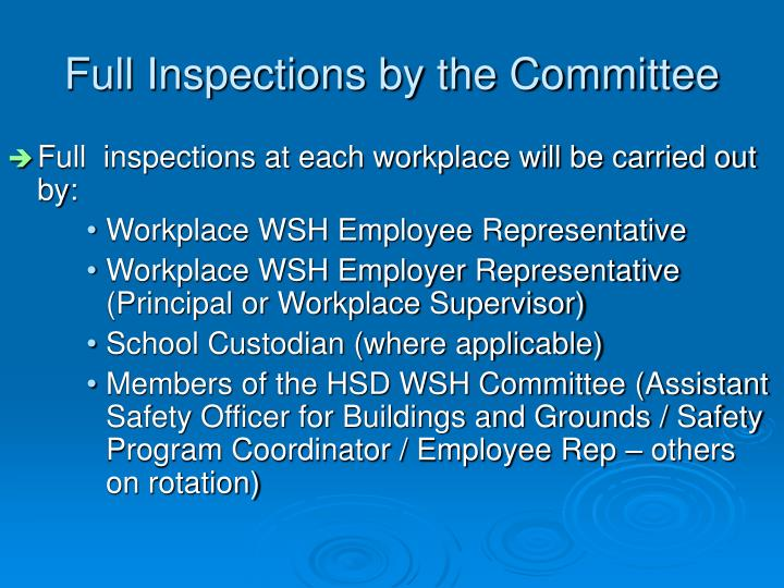 Full Inspections by the Committee