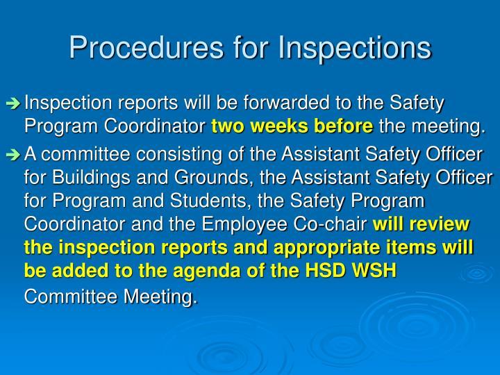 Procedures for Inspections