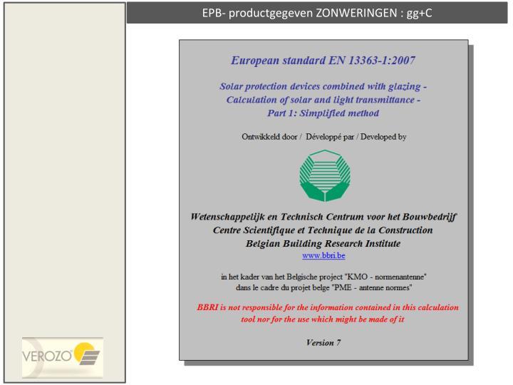 EPB- productgegeven ZONWERINGEN : gg+C
