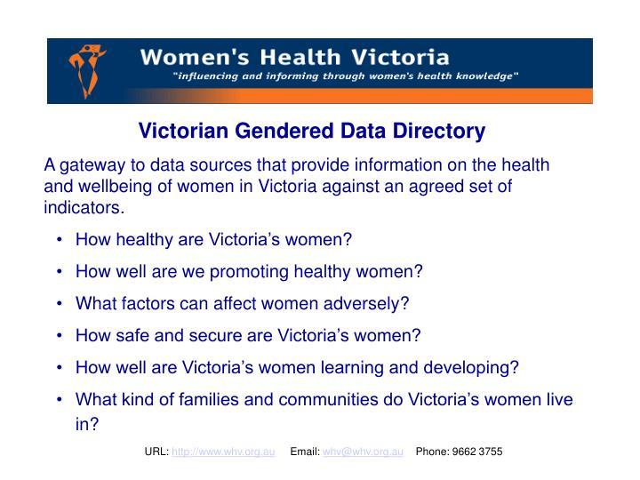 Victorian Gendered Data Directory