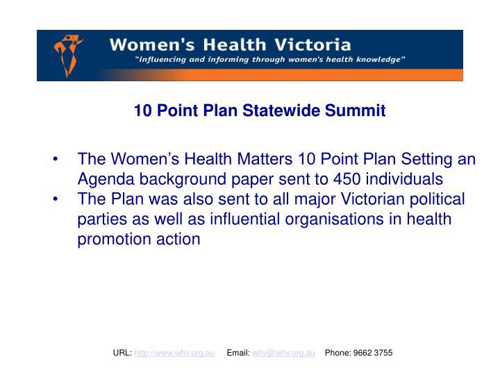 10 Point Plan Statewide Summit