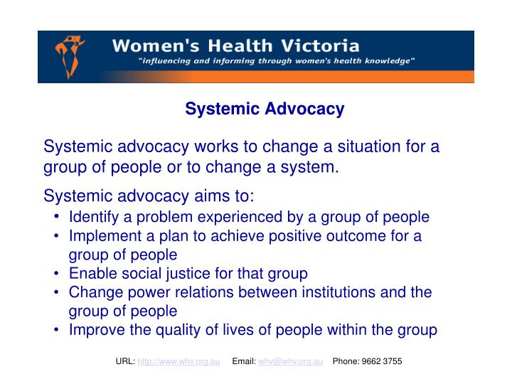 Systemic Advocacy