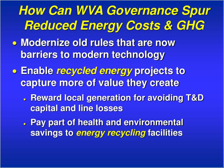How Can WVA Governance Spur Reduced Energy Costs & GHG