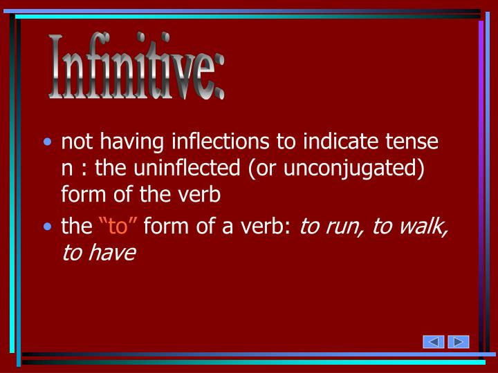 Infinitive: