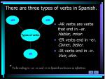 there are three types of verbs in spanish