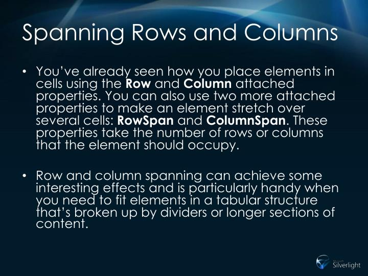 Spanning Rows and Columns
