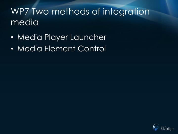 WP7 Two methods of integration media