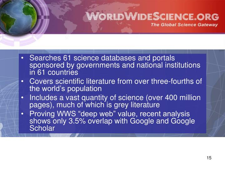 Searches 61 science databases and portals sponsored by governments and national institutions in 61 countries