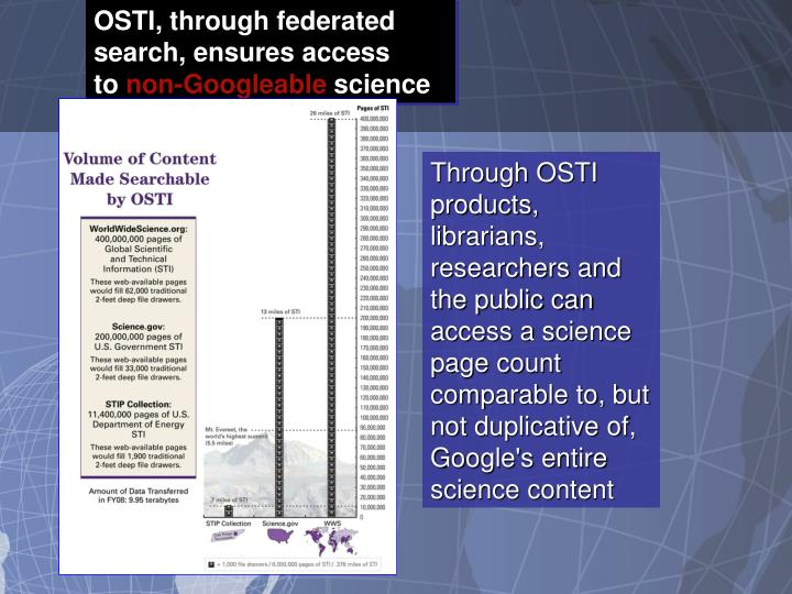 OSTI, through federated search, ensures access