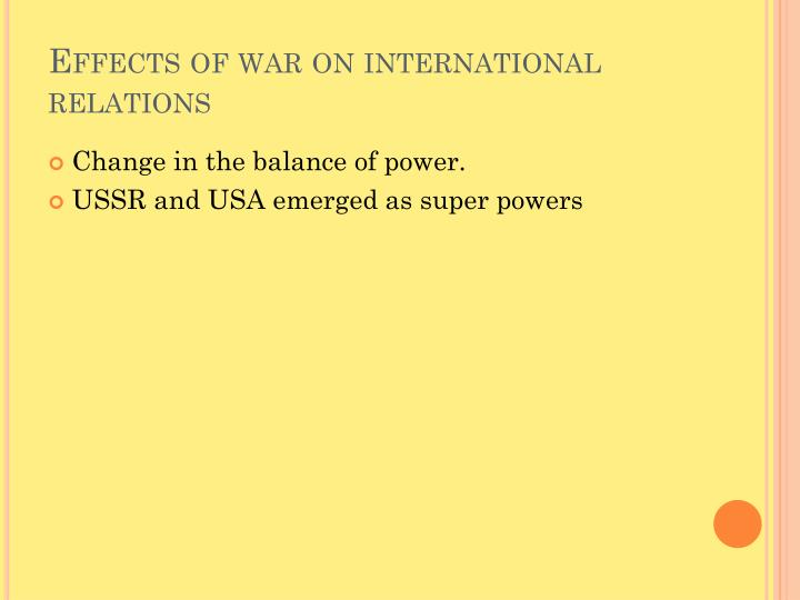 Effects of war on international relations