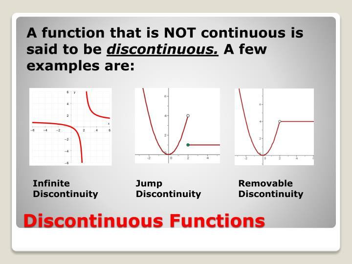 A function that is NOT continuous is said to be