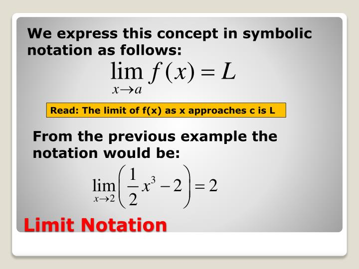 We express this concept in symbolic notation as follows: