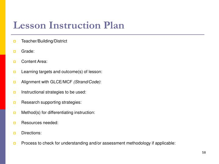 Lesson Instruction Plan