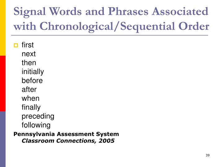Signal Words and Phrases Associated