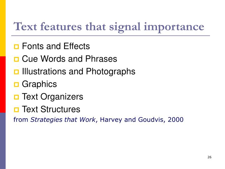 Text features that signal importance