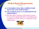 medical report requirements continued
