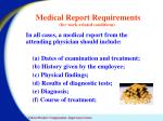 medical report requirements for work related conditions
