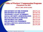 office of workers compensation programs chargeback year 2013 july 1 2012 june 30 20131