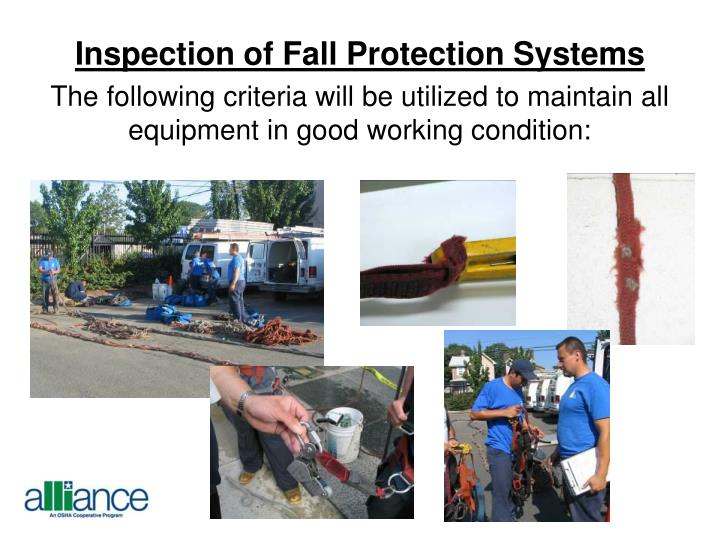 Inspection of Fall Protection Systems