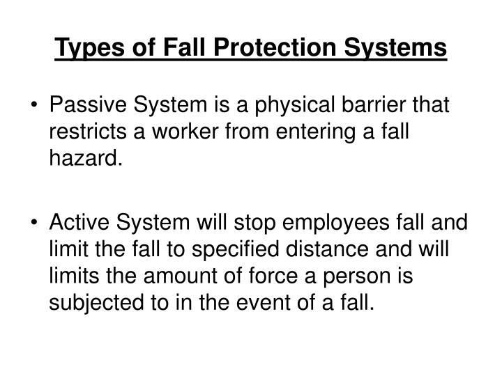 Types of Fall Protection Systems