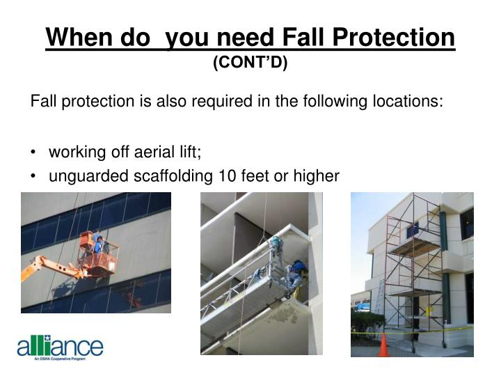 When do  you need Fall Protection