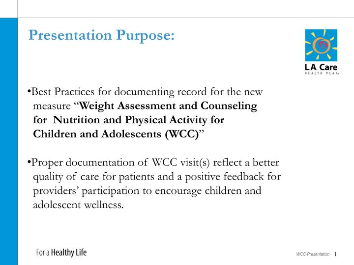 Presentation Purpose: