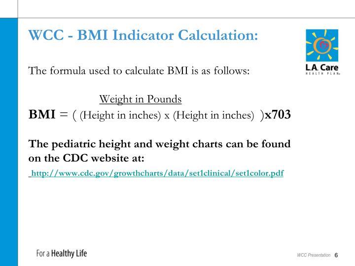 WCC - BMI Indicator Calculation: