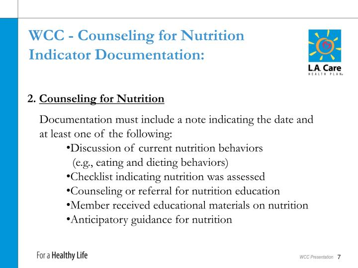 WCC - Counseling for Nutrition
