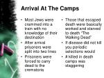 arrival at the camps
