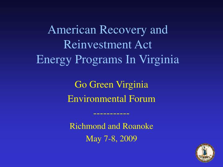 american recovery and reinvestment act energy programs in virginia