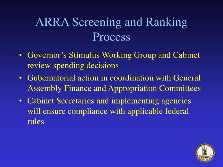 ARRA Screening and Ranking Process