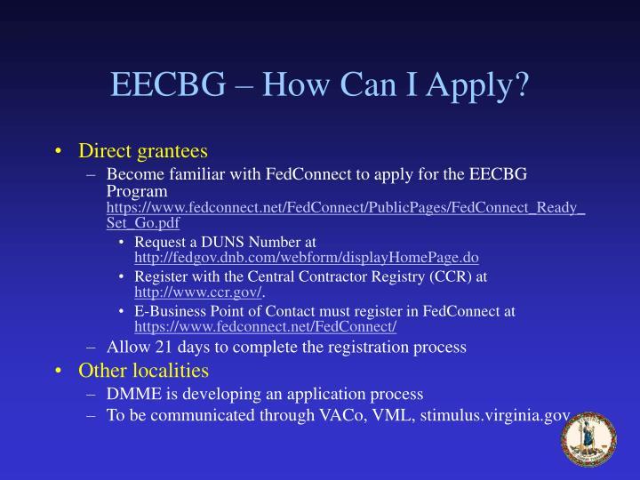 EECBG – How Can I Apply?