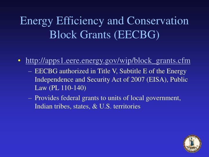 Energy Efficiency and Conservation Block Grants (EECBG)