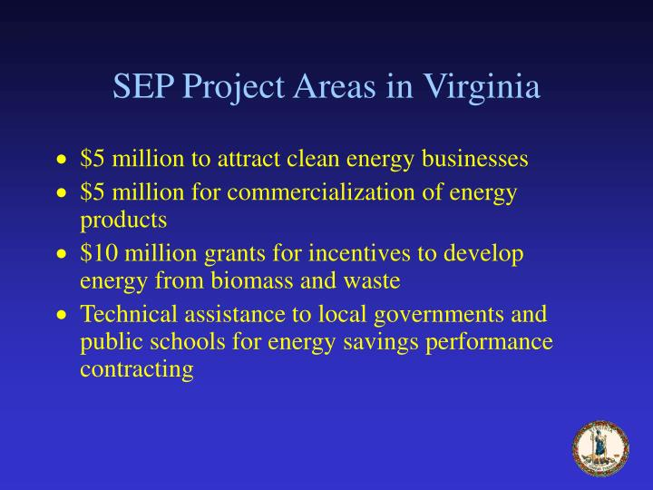 SEP Project Areas in Virginia