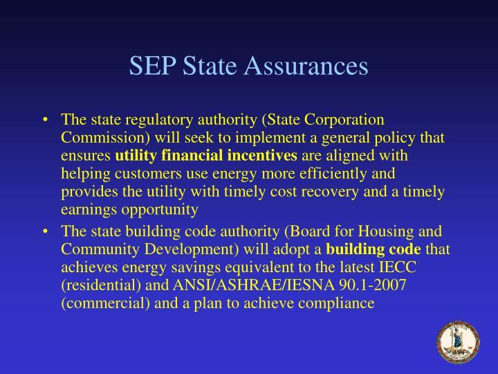 SEP State Assurances