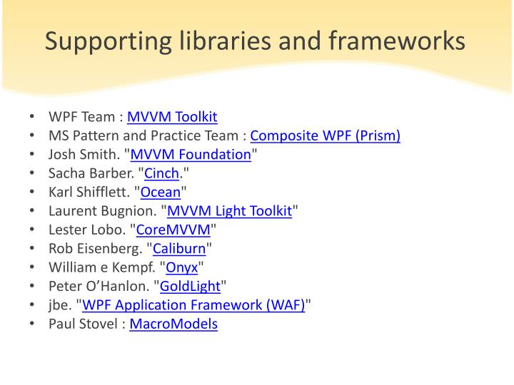 Supporting libraries and