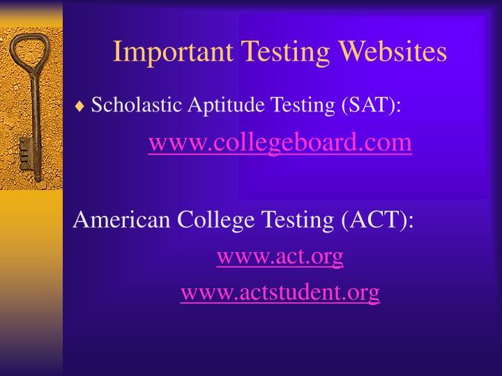 Important Testing Websites