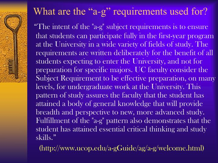 """What are the """"a-g"""" requirements used for?"""
