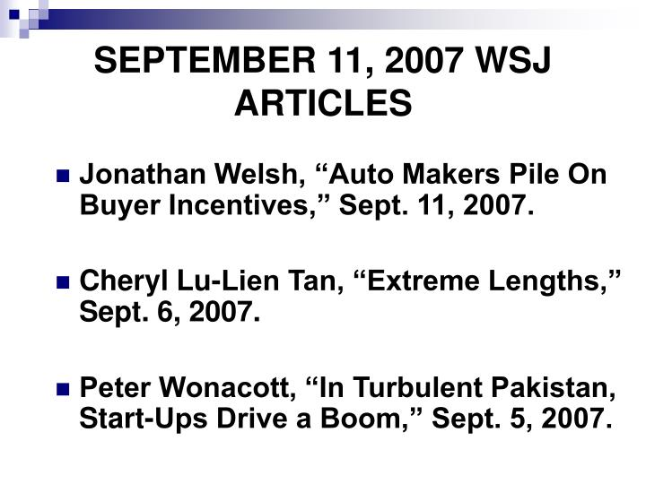 SEPTEMBER 11, 2007 WSJ  ARTICLES