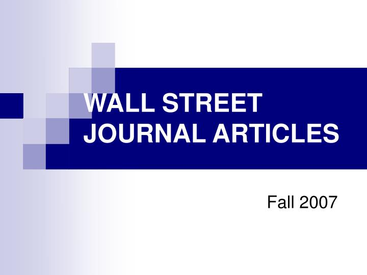 Wall street journal articles