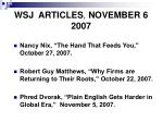 wsj articles november 6 2007
