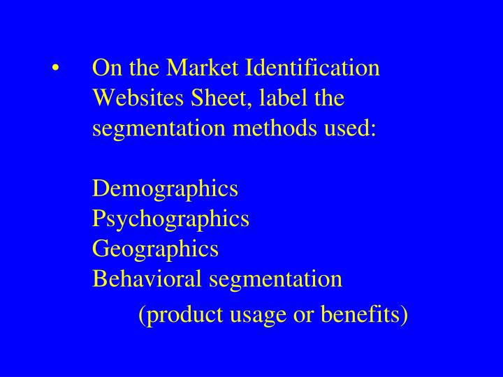 On the Market Identification Websites Sheet, label the segmentation methods used: