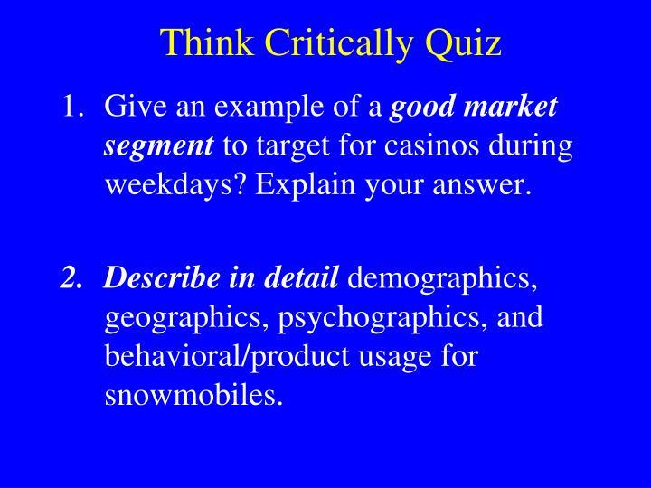 Think Critically Quiz