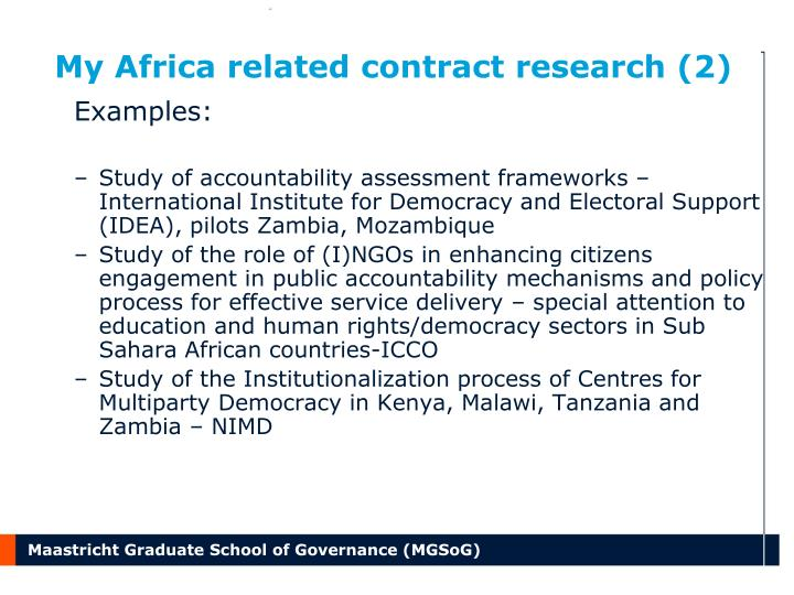 My Africa related contract research (2)