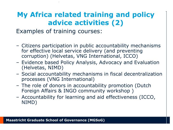 My Africa related training and policy advice activities (2)